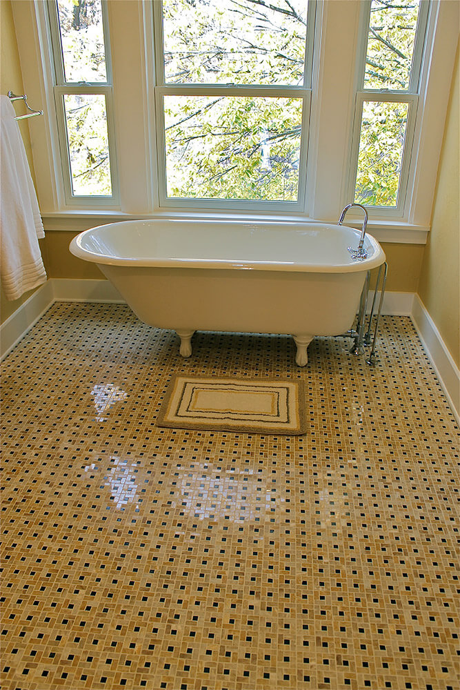 Heated floors bathroom